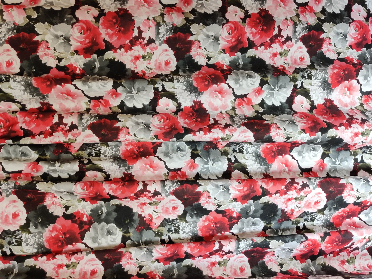 Roses in cotton fabric